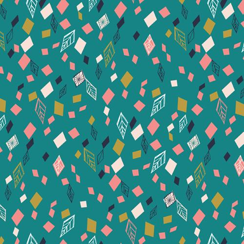 Scattered Leaves in Teal
