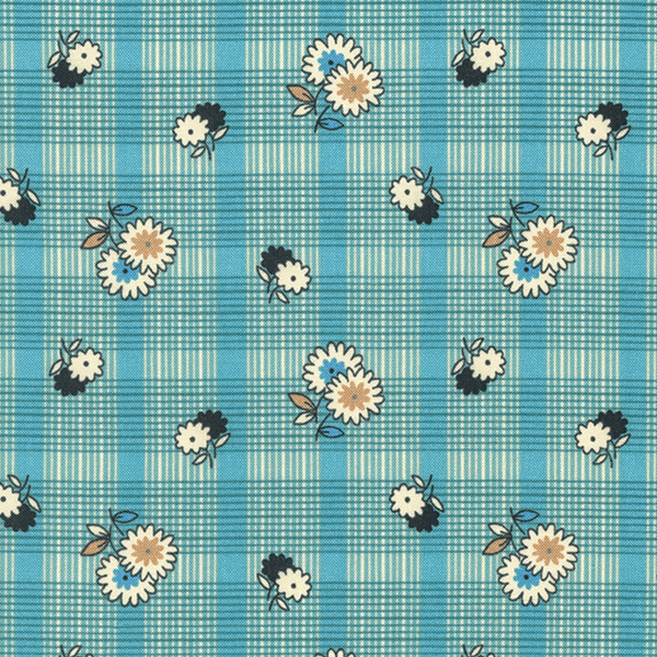 Floral Plaid in Stream