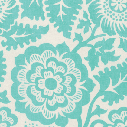 Blockprint Blossom in Aqua