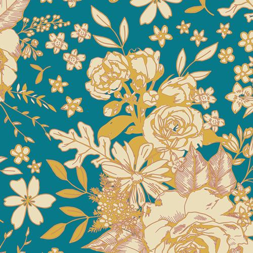 Floral Universe in Turquoise (RAYON)