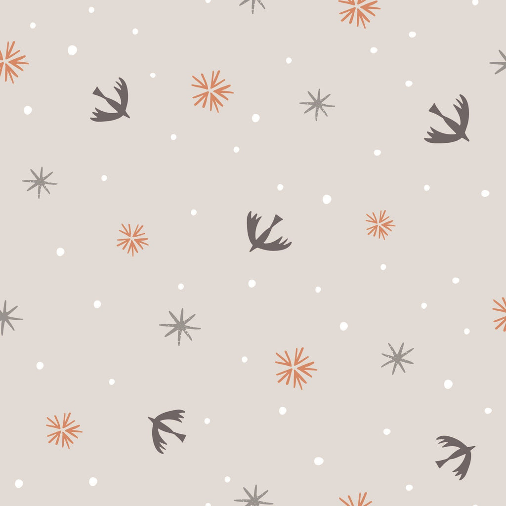 Swallows and Snowflakes in Light Grey (METALLIC)