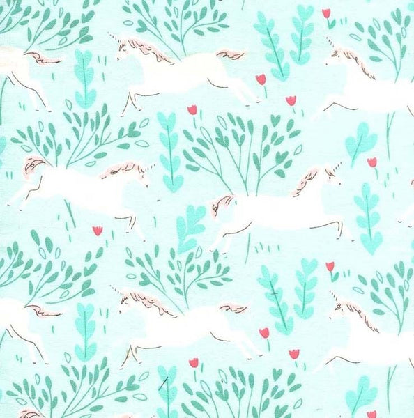 Unicorn Forest in Aqua (FLANNEL)