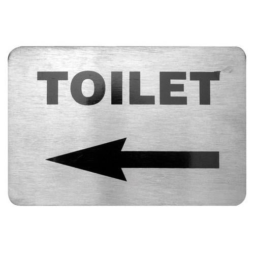 SIGN - TOILET W/LEFT ARROW S/S 120X80MM