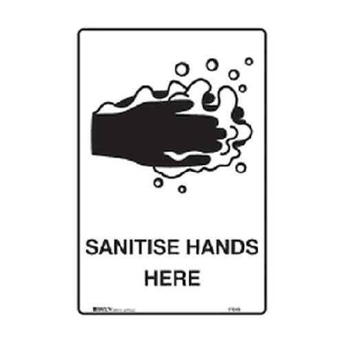 SIGN - SANITISE HANDS HERE - POLY 300X225MM