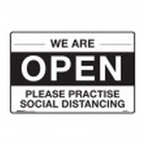 SIGN - WE ARE OPEN PLEASE PRACTISE SOCIAL DISTANCING - POLY 300X225MM