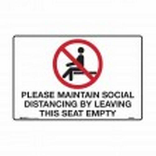 SIGN - PLEASE MAINTAIN SOCIAL DISTANCING - POLY 300X225MM