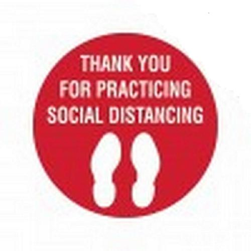 SIGN - THANK YOU FOR PRACTISING SOCIAL DISTANCING - FLOOR MARKING 300MM