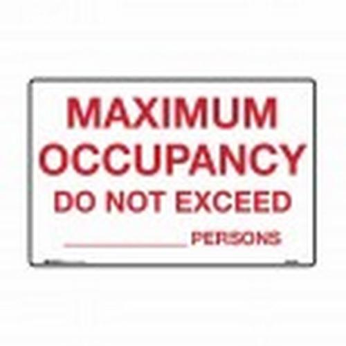 SIGN - MAXIMUM OCCUPANCY DO NOT EXCEED ... PERSONS - POLY 300X225MM