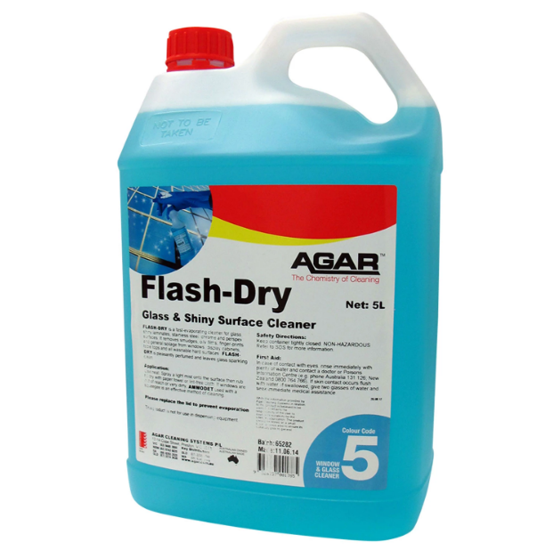 AGAR Flash Dry Glass & Shiny Surface Cleaner 5L (FLD5)