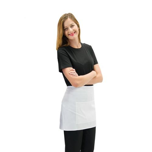 APRON 1/2 WAIST W/POCKET WHITE POLY/COTTON 700X400MM PROCHEF