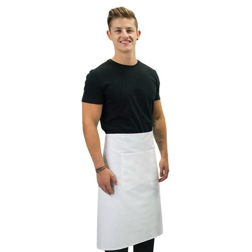 APRON 3/4 WAIST W/POCKET WHITE POLY/COTTON 860X700MM PROCHEF