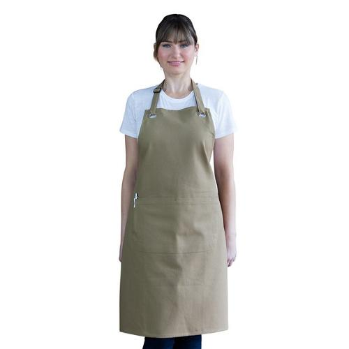 APRON BIB W/POCKET KHAKI COTTON CANVAS 700X860MM CANTINE AUSSIE CHEF