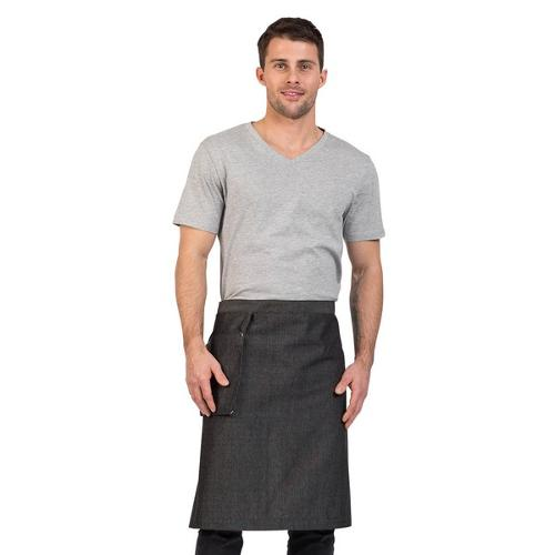 APRON WAIST W/HANGING POCKET GREY COTTON 900X600MM VENICE AUSSIE CHEF