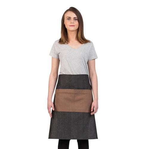 APRON WAIST W/POCKET GREY / MOCHA COTTON 700X600MM COMBO PROCHEF