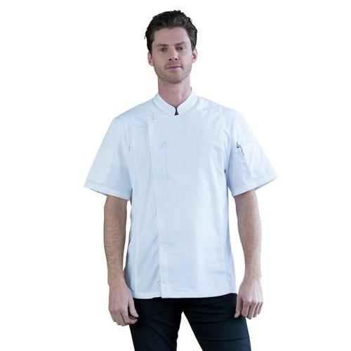CHEF JACKET ALEX ZIPPER P/C WHITE SMALL S/SL AUSSIE CHEF