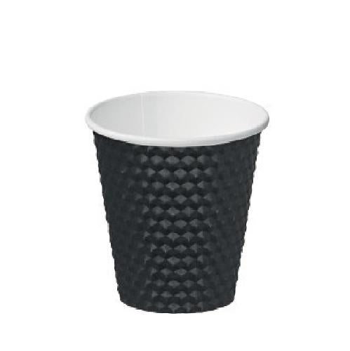 CUP PAPER HOT DRINK DIMPLE BLACK 280ML (PK25)