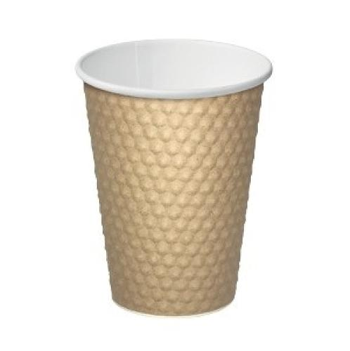 CUP PAPER HOT DRINK DIMPLE BROWN 355ML (PK25)