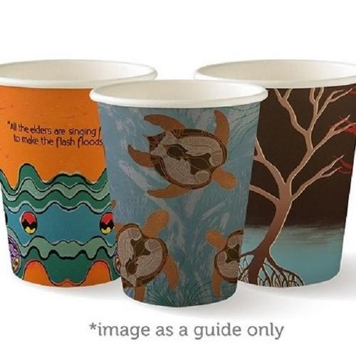 CUP PAPER SINGLE WALL 227ML 8OZ ART SERIES BIOPAK (CT1000)