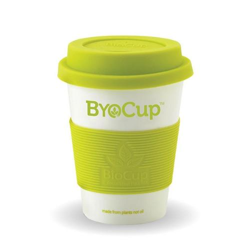 CUP PLASTIC PLA REUSABLE 227ML 8OZ WHITE W/GREEN SLEEVE & LID BIOPAK
