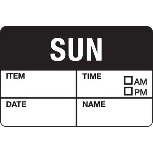 LABEL - DATE / TIME DAY - SUNDAY / BLACK 38X25MM REMOVABLE (RL500)