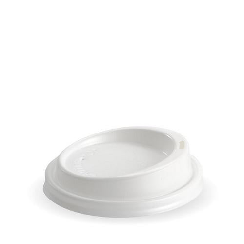 LID PLASTIC WHITE FOR 8-20OZ PAPER CUP 90MM BIOPAK (CT1000)