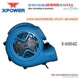 XPOWER X-600AC 520 Watts 3-4 HP 2.2 Amp 2400 CFM 3-Speed Air Mover