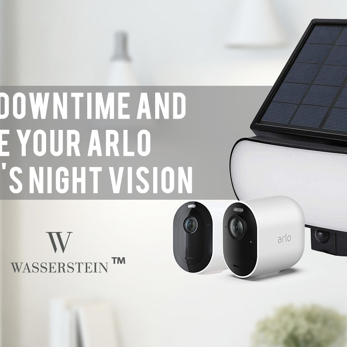 Reduce downtime and enhance the night vision of your Arlo Pro 3/Pro 4 and Arlo Ultra/Ultra 2 with the Wasserstein 2-in-1 Solar Panel Charger & Security Light