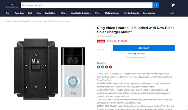 ring video doorbell bundled with solar charger
