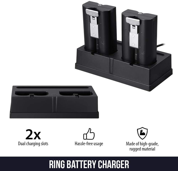 Wasserstein Charging Station & Rechargeable Battery (1-Pack) Compatible with Ring Spotlight Cam Battery, Video Doorbell 2, Stick Up Cam Battery HD & Door View Cam