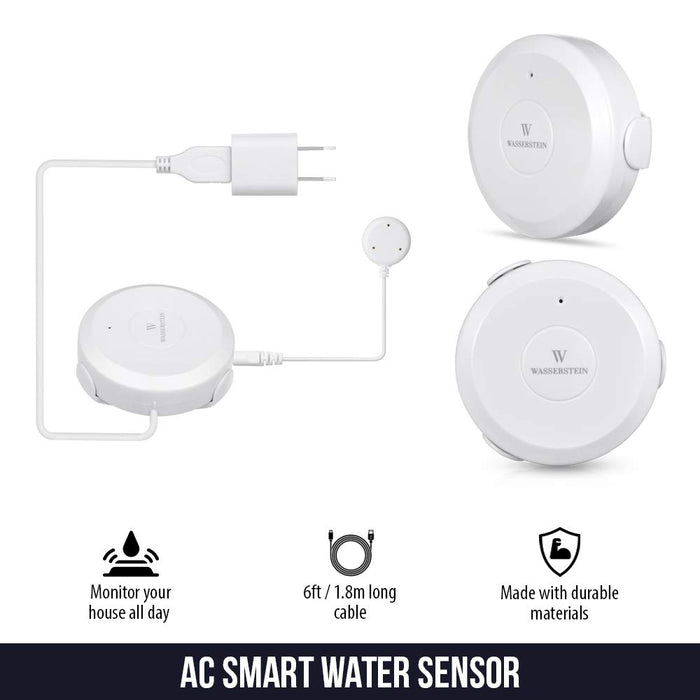 AC Powered Smart Wi-Fi Water Sensor, Flood and Leak Detector with 6ft/1.8m Cable | Wasserstein Home