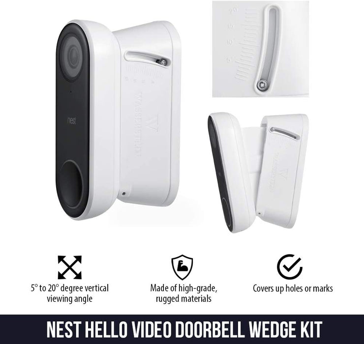 Wasserstein Adjustable Wall Mount Vertical Kit for Nest Hello Video Doorbell