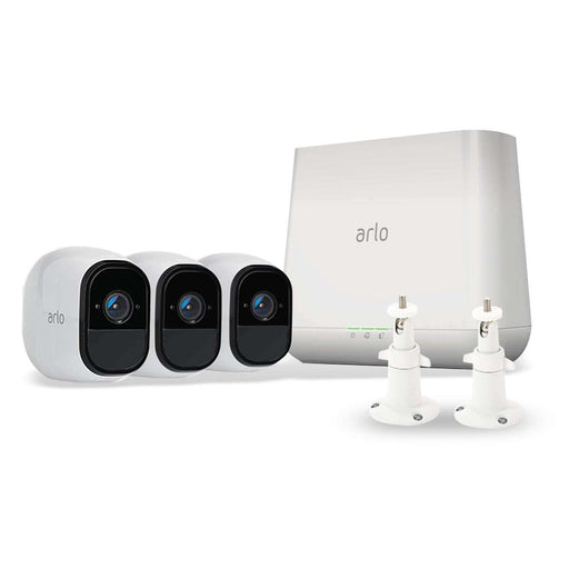 Arlo Pro 3-Pack Camera Kit (VMS4330) Bundled with 2-Pack White Adjustable Metal Wall Mount | Wasserstein Home