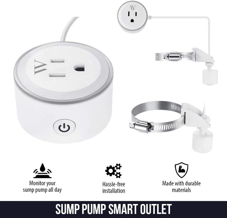 Wasserstein Smart Plug with High Water Level Sensor for Sump Pump - Alarm and App Notification Alerts, Simple Plug & Play Socket