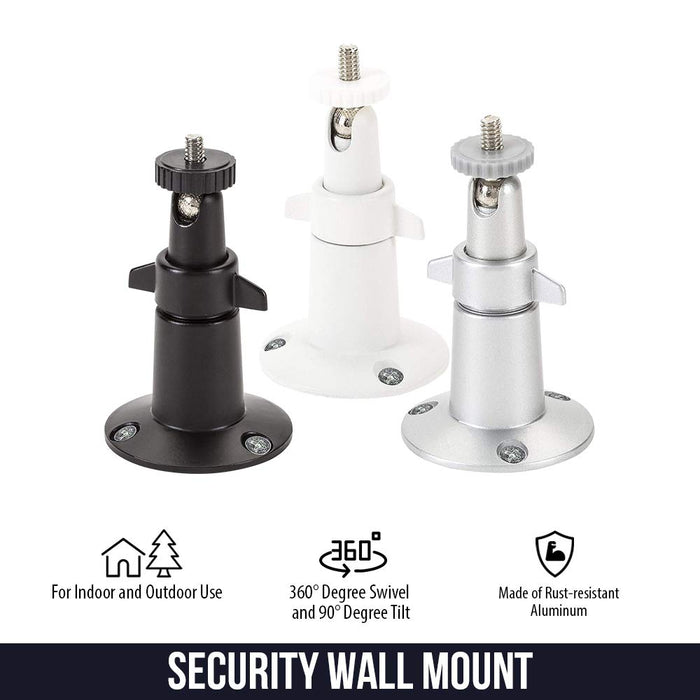 Wasserstein Adjustable Security Wall Mount Compatible with Arlo Ultra, Pro, Pro 2 (3-Pack, Black)