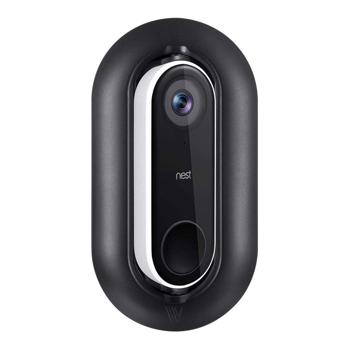 Nest Cam IQ Outdoor Camera and Nest Hello Video Doorbell Bundled with Adjustable Metal Mount, Black Silicone Skin, Wall Plate, and Adjustable Angle Wall Mount | Wasserstein Home