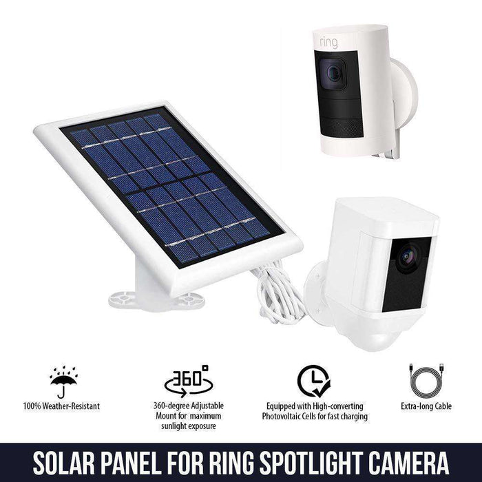 Solar Panel and Weatherproof Gutter Mount Bundle Compatible with Ring Spotlight Cam Battery and Ring Stick Up Cam Battery - Perfect Bundle for Total Home Security | Wasserstein Home