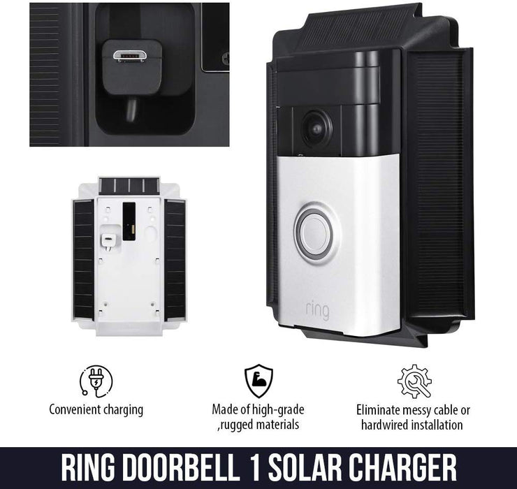 [Updated Version] Wasserstein 0.5 Watt Solar Charger Mount Compatible with Ring Video Doorbell 1, Weatherproof