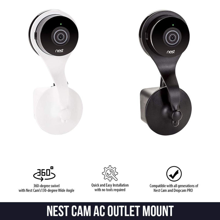 Nest Cam AC Outlet Mount - Wall Mount with 360 Degree Swivel for Nest Cam and Dropcam PRO by Wasserstein (White)