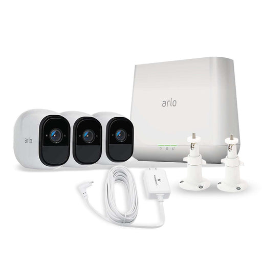 Arlo Pro 3-Pack Camera Kit (VMS4330) Bundled with White Weatherproof Quick Charge 3.0 Integrated Charger and 2-Pack White Adjustable Indoor/Outdoor Wall Mount by Wasserstein | Wasserstein Home