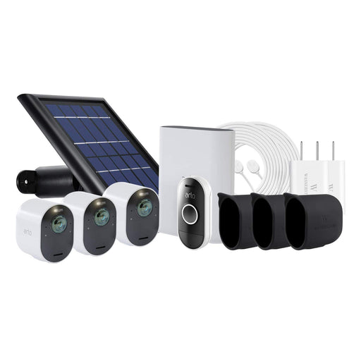 Arlo Ultra 3-pack Cam Kit with Solar Panel, 2-pack Magnetic Charging Cable with Adapter, 3-pack Protective Skins with Sunroof & Arlo Audio Doorbell