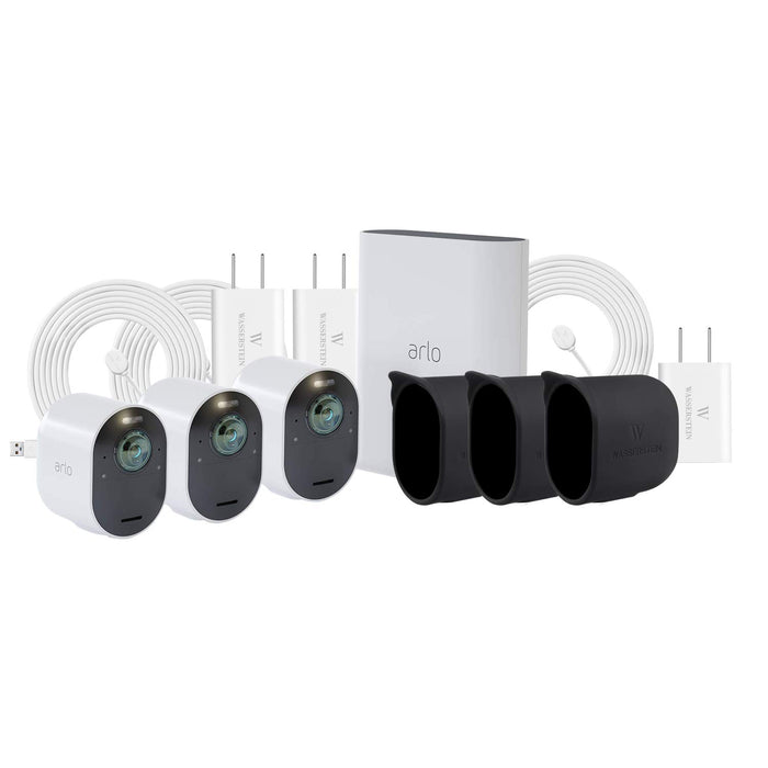 Arlo Ultra 3-Pack Kit (VMS5340) with Weatherproof Charging Cable & Silicone Skin | Wasserstein Home