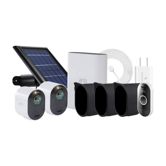 Arlo Ultra 2-pack Cam Kit with Solar Panel, Magnetic Charging Cable with Adapter, 3-pack Protective Skins & Arlo Audio Doorbell
