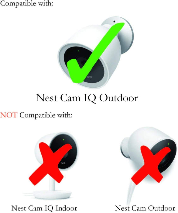 Wasserstein Adjustable Metal Mount compatible with Google Nest Cam IQ Outdoor - Extra flexibility for your Nest Cam (Silver)