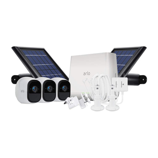 Arlo Pro 3-pack Cam Kit with Solar Panel, Outdoor Quick Charger, 2-pack Wall Mount & Gutter Mount