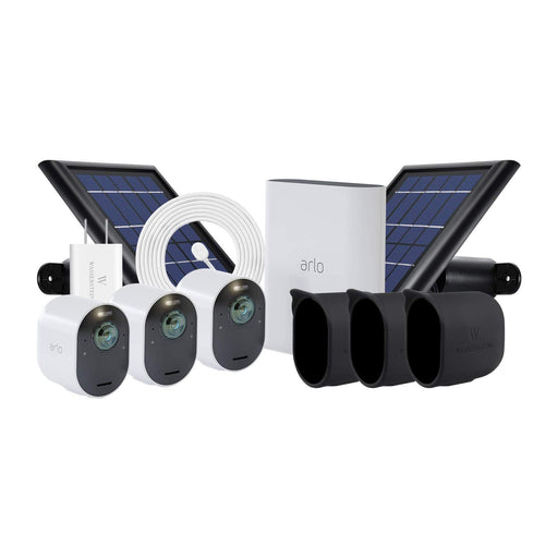 Arlo Ultra 3-pack Cam Kit with 2-pack Solar Panel, Magnetic Charging Cable with Adapter & 3-pack Protective Skins with Sunroof
