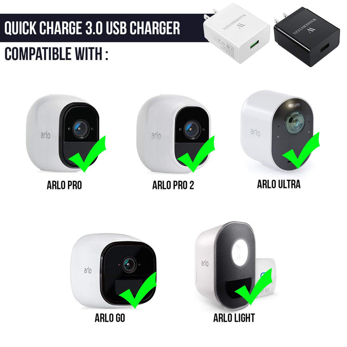 Quick Charge 3.0 USB Charger by Wasserstein for Arlo Pro, Arlo Pro 2, Arlo Ultra, Smartphones