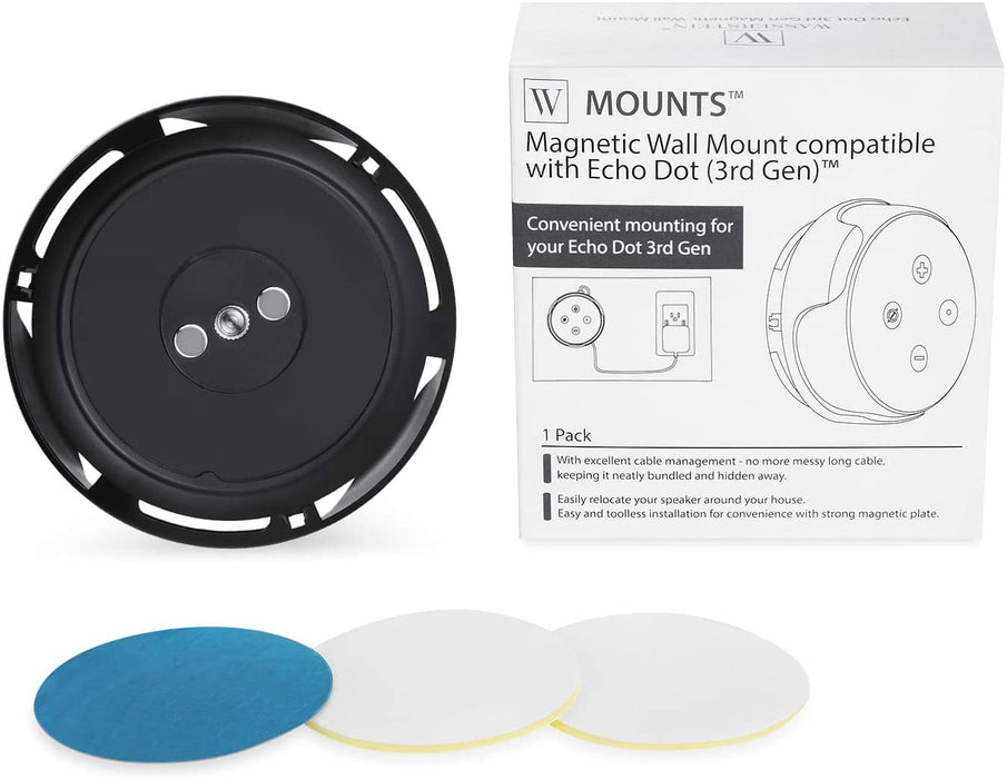 Magnetic Wall Mount Compatible with Echo Dot (3rd Gen) - Convenient mounting for Your Alexa Smart Speaker