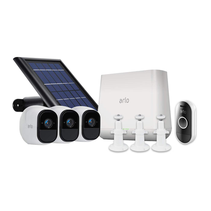 Arlo Pro 3-pack Cam Kit with Solar Panel, 3-pack Wall Mount & Arlo Audio Doorbell