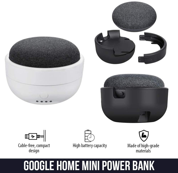 Rechargeable Battery Base for Google Home Mini - Portable Charger by Wasserstein