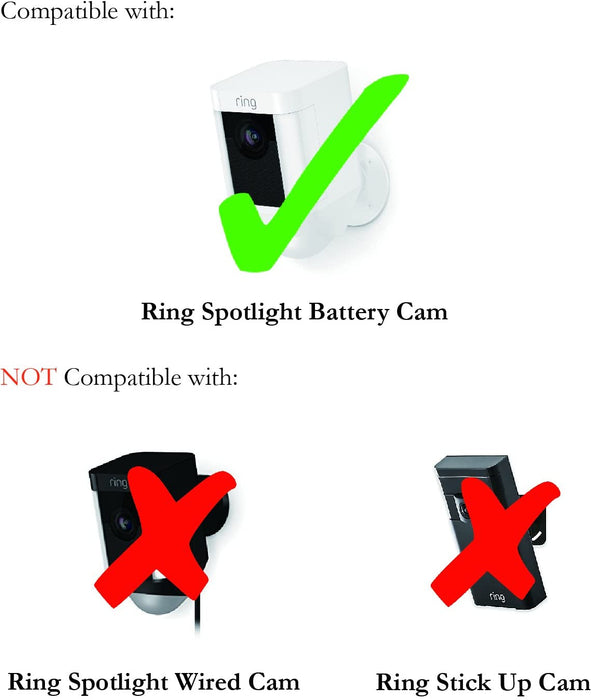 Wasserstein UV- and Weather-Resistant Silicone Skins compatible with Ring Spotlight Battery Cam - Extra Layer of Protection for your Ring Cam